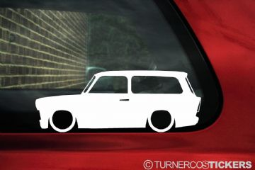 2x Low car outline stickers - for Trabant 601 WAGON / KOMBI lowered, stanced